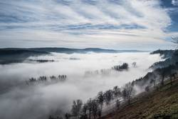 Foggy morning in a valley.