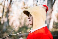 Boy disguised to christmas in the forest with their family