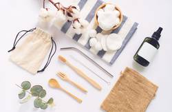 Flat lay of sustainable products