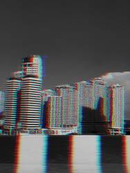modern buildings with glitch effect