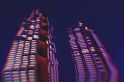 city night background with digital glitch effect