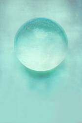 glass ball on pastel tone background