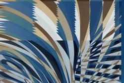 Streifen auf Papier - blau, beige, weiß