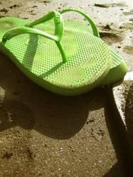 krass grüne Flip Flops