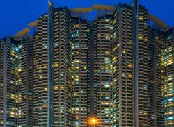 Hong Kong - South West - tower blocks at blue hour