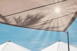 Sonnenschirm, unter Palmen