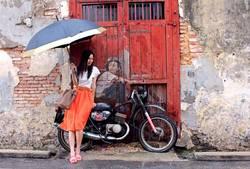 Mädchen, Fahrrad, Regenschirm