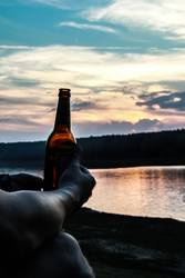 Cold beer on summer lake