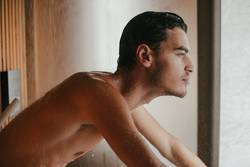 Sexy man in the bathroom