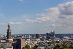 """Hamburg, Deutschland Stadt Panorama Elbphilharmonie """"Elphi"""""""