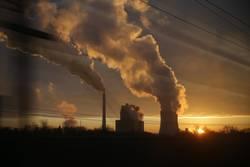 Kohle Kraftwerk Leipzig Deutschland Gegenlicht Sonnenuntergang