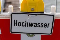 Warnschild Hochwasser - Köln Rhein