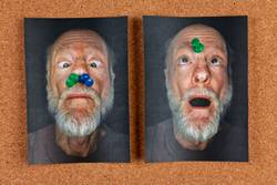 funny portrait photos pinned to message board