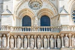 Details on facade of Notre-Dame de Paris