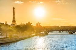 Beautiful sunset with Eiffel Tower