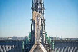 Statues at roof of Notre-Dame de Paris