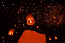 Sky lanterns festival of lights in Chiangmai, Northern Thailand