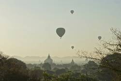 Balloons over Buddhist Temples in Bagan, Myanmar