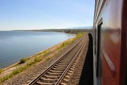 Trans Siberian Railway at lake Baikal in Siberia, Russia
