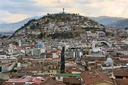 Panecillo hill over Quito's cityscape in Ecuador