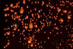 Sky lanterns festival Yee Peng Festival, Chiangmai, Thailand