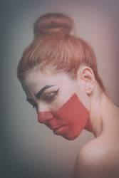 Red painted woman
