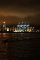 Algeciras Hafen in der Nacht