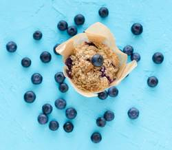 Muffins with blueberries on blue background.
