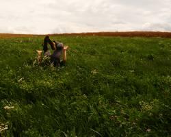 Jungen macht eine Rolle im Gras