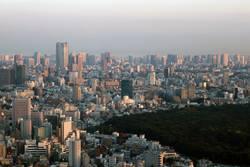 Skyline von Tokyo mit Park – Abendstimmung Japan