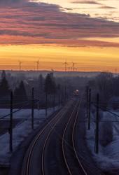December sunrise and german railways infrastructure