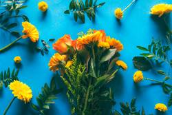 Bouquet of yellow flowers on a blue background