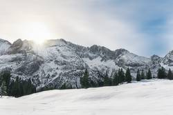 Winter morning scene with snowy Alps mountains in Austria