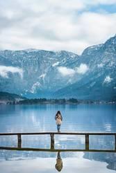 Woman on a bridge enjoying the view
