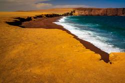 the red beach in Paracas, Peru