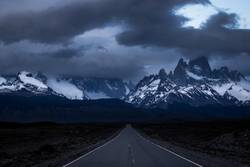 driving into the freezing mountains of Patagonia
