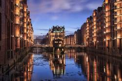 Hamburg Speicherstadt during sunset long exposure