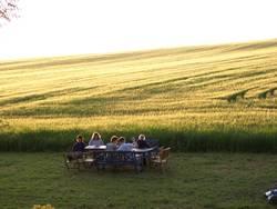 Ein Tisch vorm Kornfeld