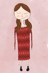 Mädchen mit rotem Kleid