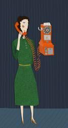 Telefon-Frau