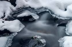 Melting ice on river