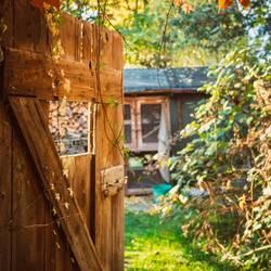 Blick durch eine Holztür im Garten im Herbst