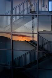 Treppe mit Sonnenuntergang