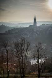 Berner Münster im Nebel der Aare