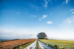 Snow on a countryside road with colorful fields
