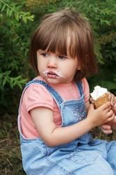 Cute girl are eating icecream