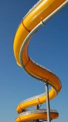 Winding orange water slide