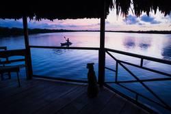 Dog watching girl in kanu at lagoon during sunset