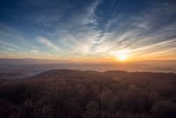 Rheinebene Winter Sunset