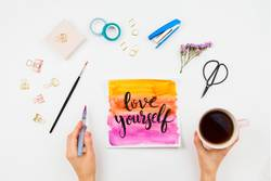 Handlettered sign Love Yourself, watercolor and stationary